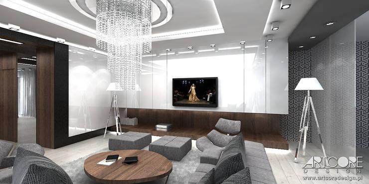 Nowoczesny dom zaprojektowany przez architekta wnętrz: styl , w kategorii Salon zaprojektowany przez ArtCore Design,Skandynawski
