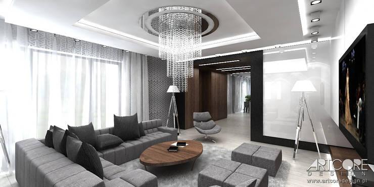Projektowanie wnętrz domu w stylu nowoczesnym: styl , w kategorii Salon zaprojektowany przez ArtCore Design,Skandynawski