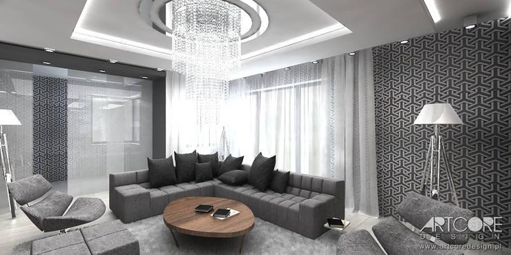 Projekt wnętrza nowoczesnego salonu: styl , w kategorii Salon zaprojektowany przez ArtCore Design,Skandynawski