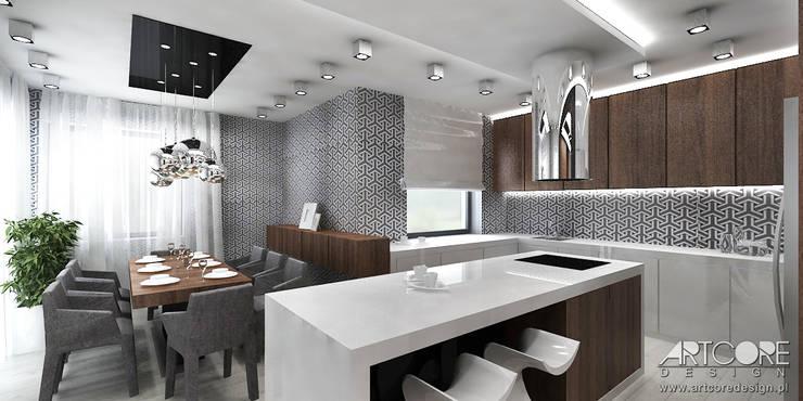 Projekt wnętrza salonu z otwartą kuchnią: styl , w kategorii Kuchnia zaprojektowany przez ArtCore Design,Skandynawski