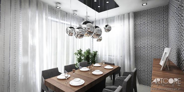 Projektowanie wnętrz nowoczesngo domu - jadalnia w salonie: styl , w kategorii Jadalnia zaprojektowany przez ArtCore Design,Skandynawski