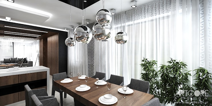Jadalnia w salonie - projekt wnętrza: styl , w kategorii Jadalnia zaprojektowany przez ArtCore Design,Skandynawski