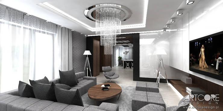 Architektura wnętrz nowoczesnego domu: styl , w kategorii Salon zaprojektowany przez ArtCore Design,Skandynawski