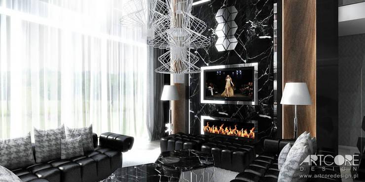 Projekt wnętrza rezydencji - salon: styl , w kategorii Salon zaprojektowany przez ArtCore Design,Nowoczesny