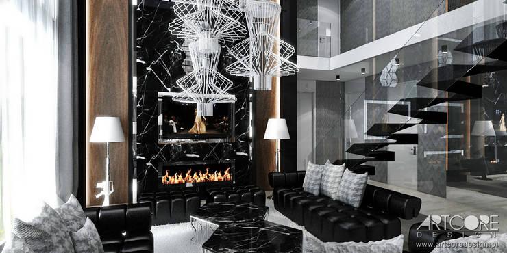 Salon nowoczesnej rezydencji - architektura wnętrz: styl , w kategorii Salon zaprojektowany przez ArtCore Design