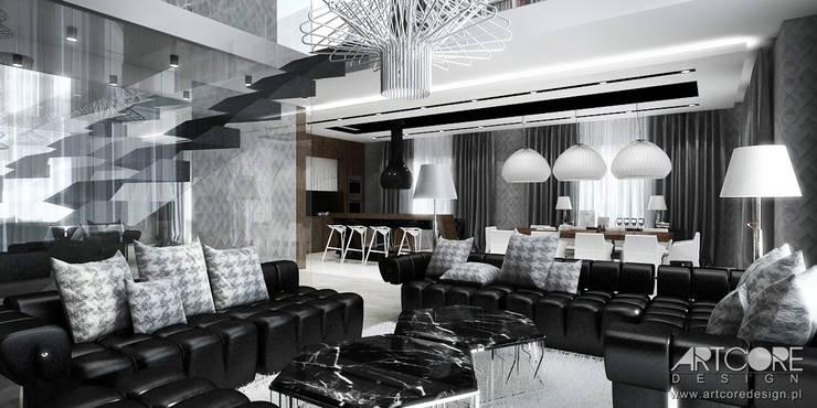 Projekt wnętrza nowoczesnje rezydencji z otwartą kuchnią: styl , w kategorii Salon zaprojektowany przez ArtCore Design,Nowoczesny