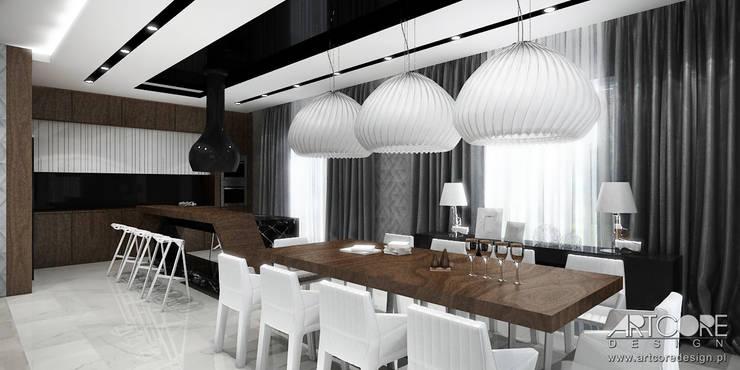 Projektowanie wnętrz jadalni w nowoczesnej rezydencji: styl , w kategorii Jadalnia zaprojektowany przez ArtCore Design