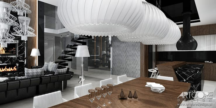 Jadalnia w nowoczesnej rezydencji - architektura wnętrz: styl , w kategorii Jadalnia zaprojektowany przez ArtCore Design,Nowoczesny