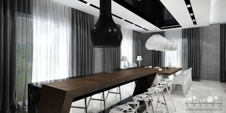 Projekt wnętrza jadalni w nowoczesnej rezydencji: styl , w kategorii Jadalnia zaprojektowany przez ArtCore Design