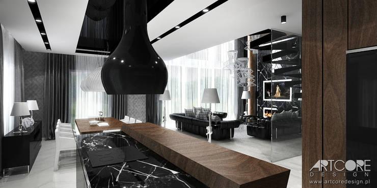 Projekt salonu z jadalnią: styl , w kategorii Jadalnia zaprojektowany przez ArtCore Design,Nowoczesny