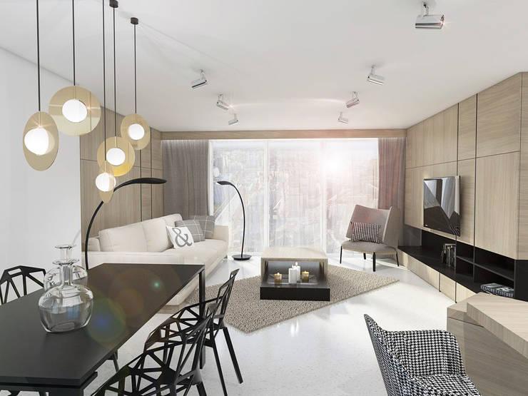 STREFA ODPOCZYNKU: styl , w kategorii Salon zaprojektowany przez UTOO-Pracownia Architektury Wnętrz i Krajobrazu,