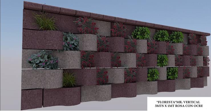 FLORESTA DIAGONALES ROSA CON OCRE, REMATE ROSA.: Jardines de estilo  por ENFOQUE CONSTRUCTIVO