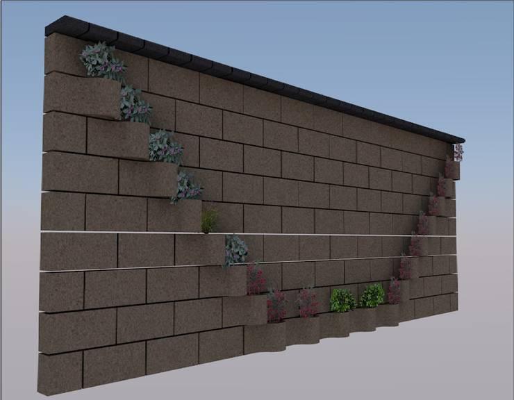 FLORESA EN V, CONRUSTICO OCRE, REMATE NEGRO.: Jardines de estilo  por ENFOQUE CONSTRUCTIVO