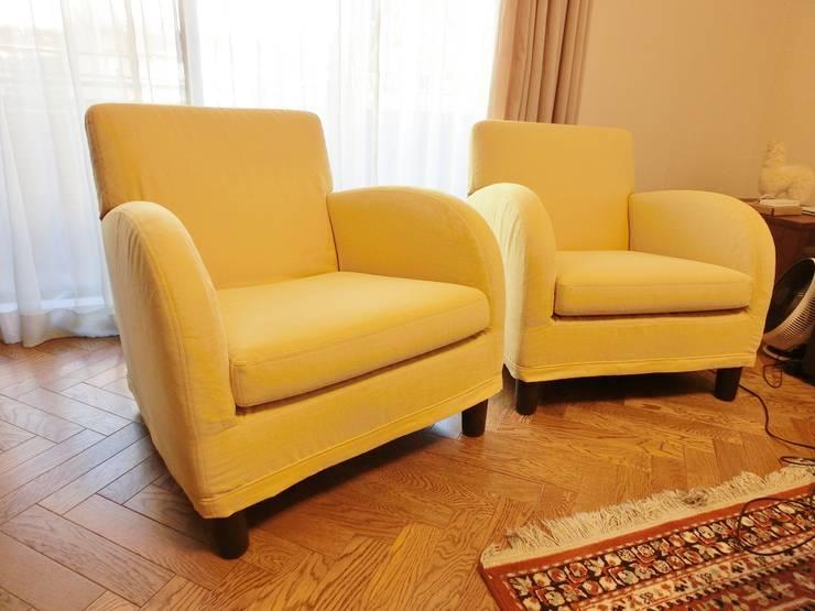 b6b Baycity Reupholstered: (株)工房スタンリーズが手掛けたリビングルームです。,