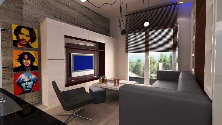 VRLWORKS – 1+0 konut projesi: modern tarz Oturma Odası