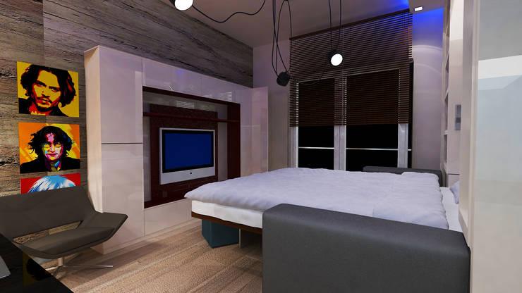 VRLWORKS – 1+0 konut projesi: modern tarz Yatak Odası