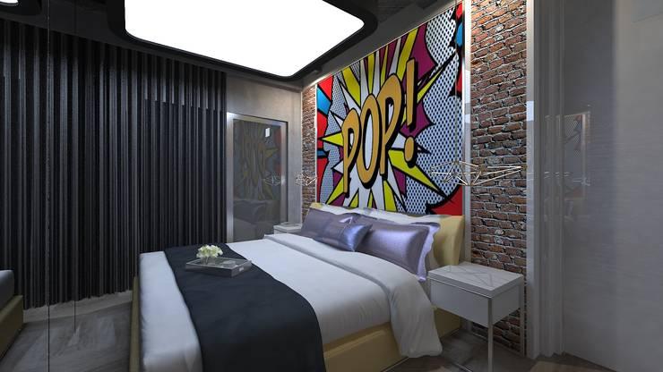 VRLWORKS – 1+1 konut projesi: modern tarz Yatak Odası