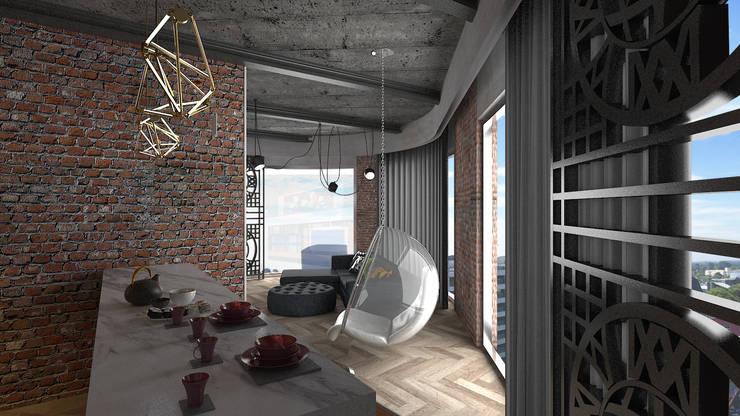 VRLWORKS – 1+1 konut projesi: modern tarz Oturma Odası