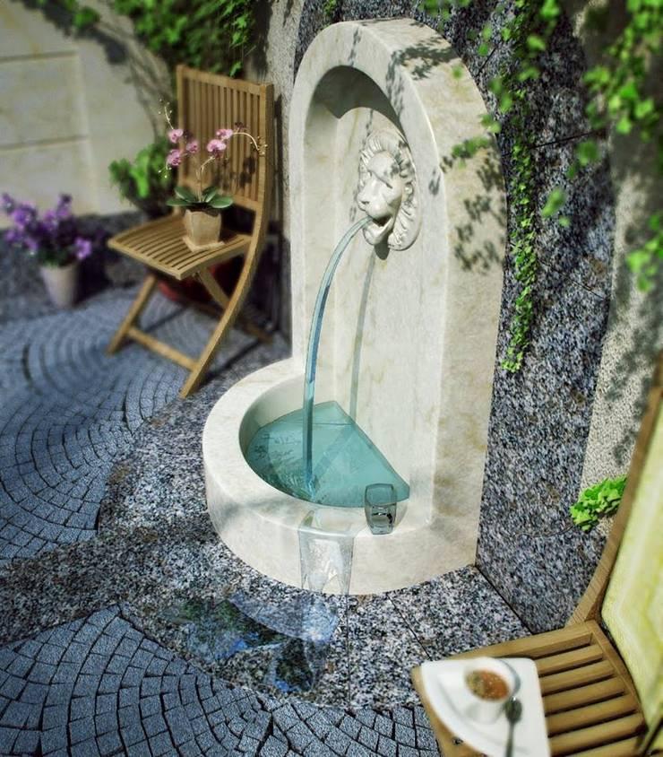 EMG Mimarlik Muhendislik Proje Çanakkale 0 286 222 01 77 – Çeşme Sağ Yan Görünüş:  tarz Bahçe, Akdeniz Mermer