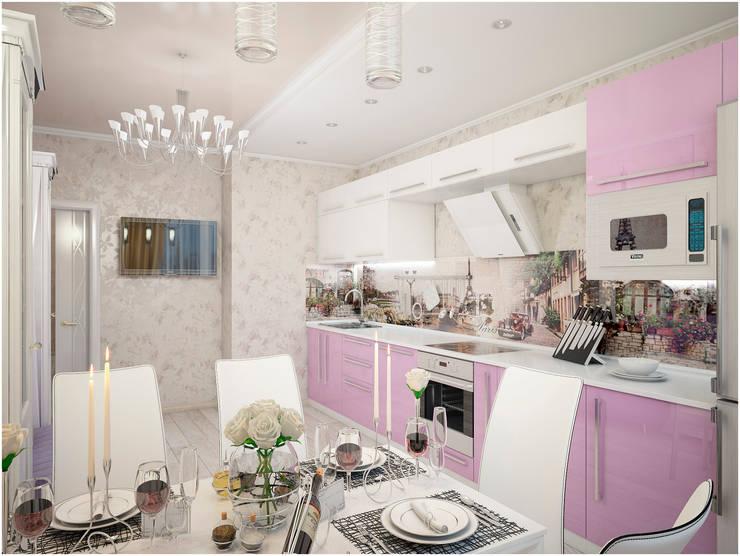 Дизайн-проект трехкомнатной квартиры 94 м2, 2015г: Кухни в . Автор – Artstyle