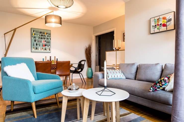 salon sejour style scandinave: Salon de style  par MJ Home