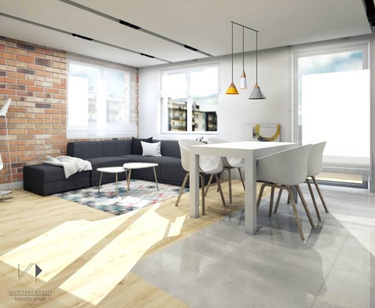 Salon połączony z jadalnią : styl , w kategorii Salon zaprojektowany przez Architekt wnętrz Klaudia Pniak