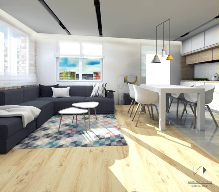 Salon z kuchnią : styl , w kategorii Salon zaprojektowany przez Architekt wnętrz Klaudia Pniak