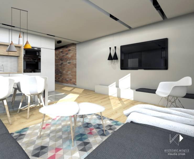 Otwarty salon z kuchnią : styl , w kategorii Salon zaprojektowany przez Architekt wnętrz Klaudia Pniak