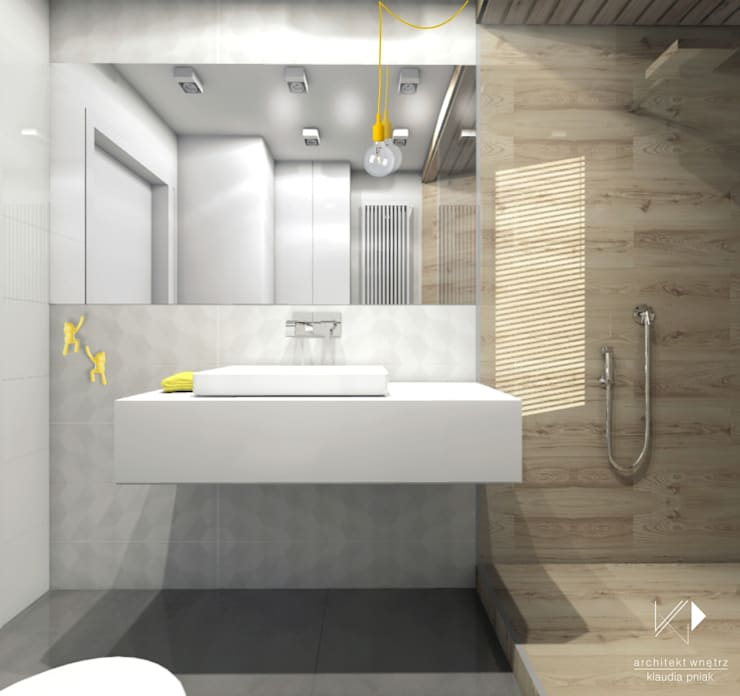 Łazienka w drewnie : styl , w kategorii Łazienka zaprojektowany przez Architekt wnętrz Klaudia Pniak