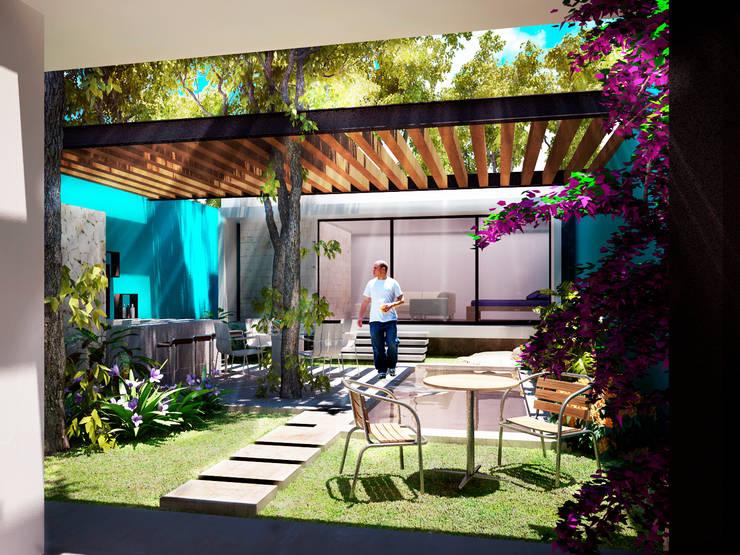 Terraza/Bar/Piscina/Asoleadero: Terrazas de estilo  por Esquiliano Arqs