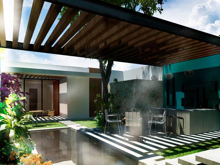 Terraza Bar: Terrazas de estilo  por Esquiliano Arqs