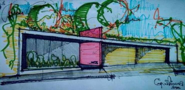 Fachada Sketch: Casas de estilo  por Esquiliano Arqs