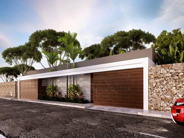 Fachada exterior: Casas de estilo  por Esquiliano Arqs
