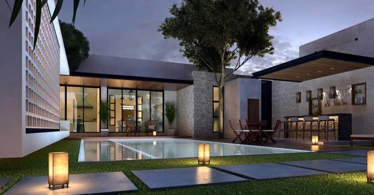 CASA 505 : Casas de estilo  por Esquiliano Arqs