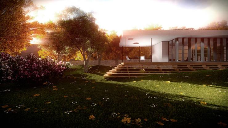 Casa jardín: Jardines de estilo moderno de Ibu 3d