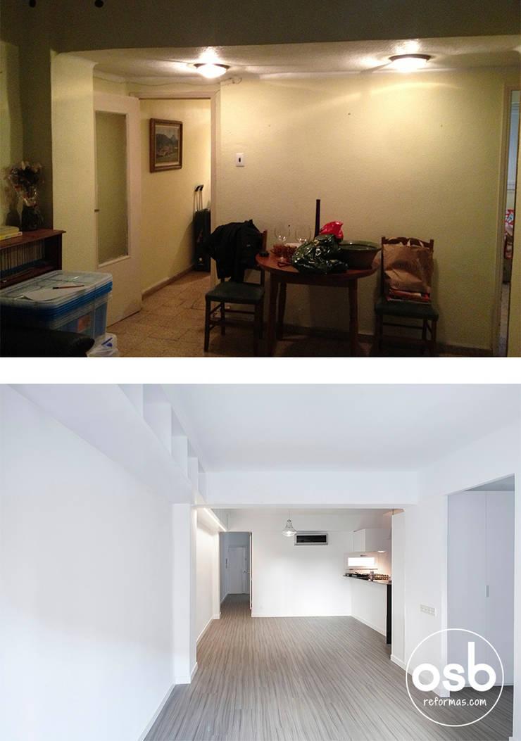 salón - comedor antes y después:  de estilo  de osb reformas