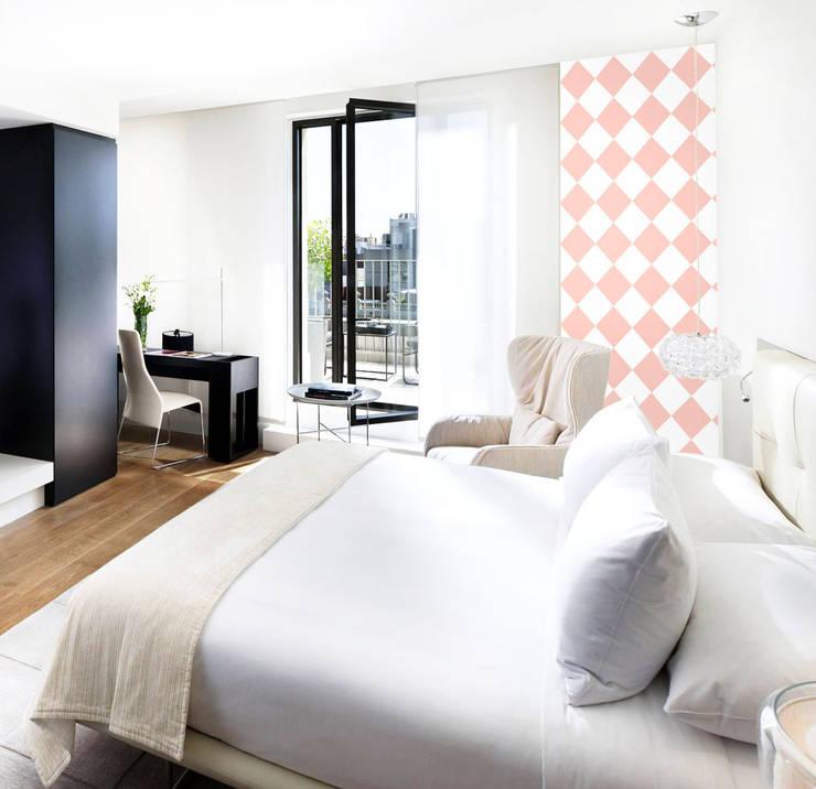 Tapeta w romby biało-różowa: styl , w kategorii Ściany zaprojektowany przez Dekoori,Skandynawski