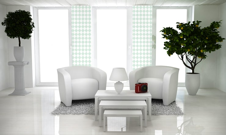 Tapeta w małe romby biało-miętowa: styl , w kategorii Ściany zaprojektowany przez Dekoori,Skandynawski