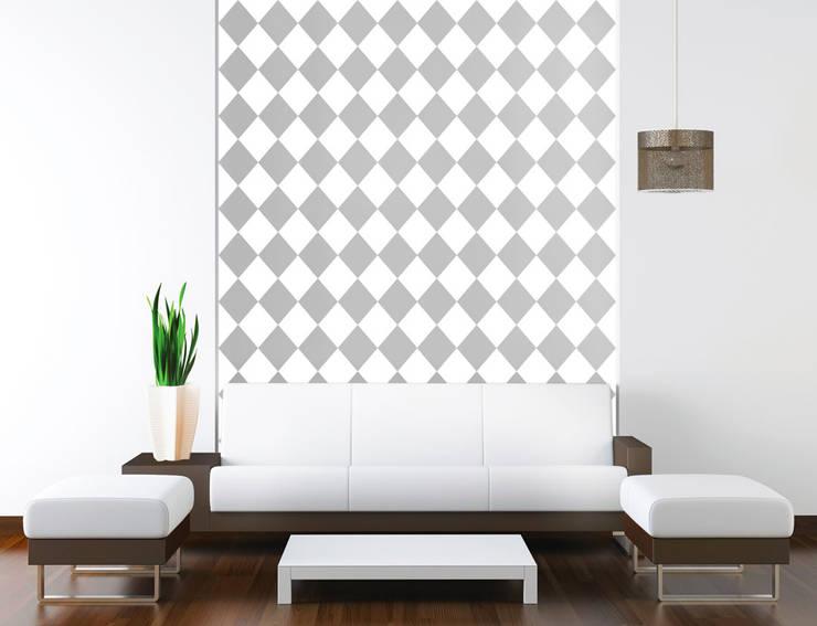 Tapeta w romby biało-szara: styl , w kategorii Ściany zaprojektowany przez Dekoori,Skandynawski