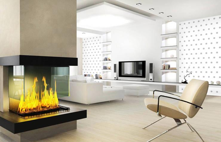 Tapeta w grochy biało-szara: styl , w kategorii Ściany zaprojektowany przez Dekoori
