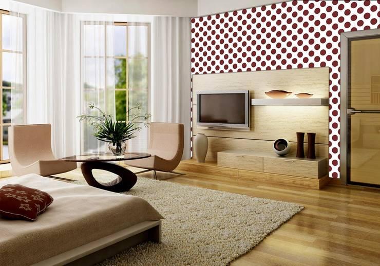 Tapeta pola dot, grochy biało-marsala: styl , w kategorii Ściany zaprojektowany przez Dekoori