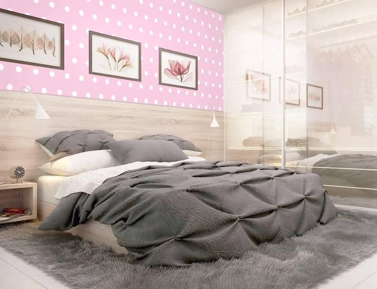 Tapeta w grochy różowo-biała: styl , w kategorii Ściany zaprojektowany przez Dekoori