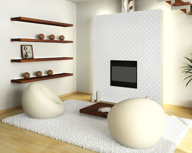 Tapeta w małe groszki jasnoszaro-biała: styl , w kategorii Ściany zaprojektowany przez Dekoori