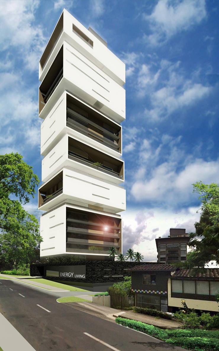 Fachada desde la Transversal Inferior: Espacios comerciales de estilo  por M Group Arquitectura