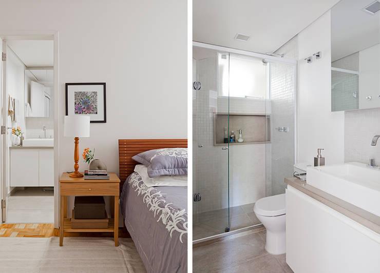 Apartamento da Cláudia e do Daniel: Banheiros  por INÁ Arquitetura