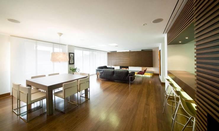 APARTAMENTO ROSALES - Mobiliario fijo : Salas de estilo  por Mako laboratorio , Moderno Madera Acabado en madera