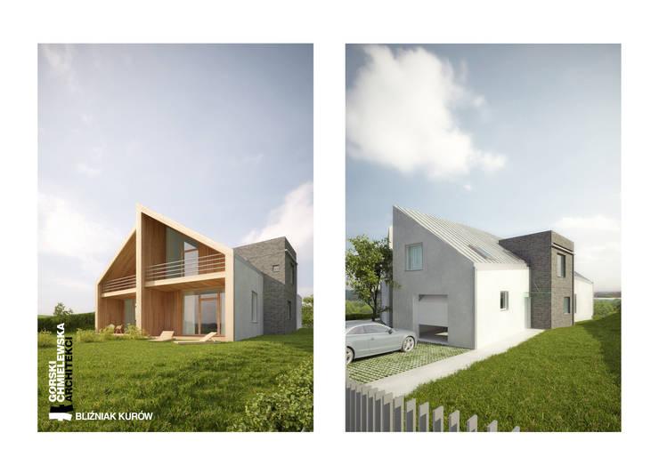 BLIŹNIAK KURÓW: styl nowoczesne, w kategorii Domy zaprojektowany przez GÓRSKI CHMIELEWSKA ARCHITEKCI