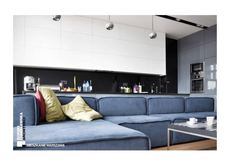 WNĘTRZE WARSZAWA: styl , w kategorii Salon zaprojektowany przez GÓRSKI CHMIELEWSKA ARCHITEKCI,Nowoczesny