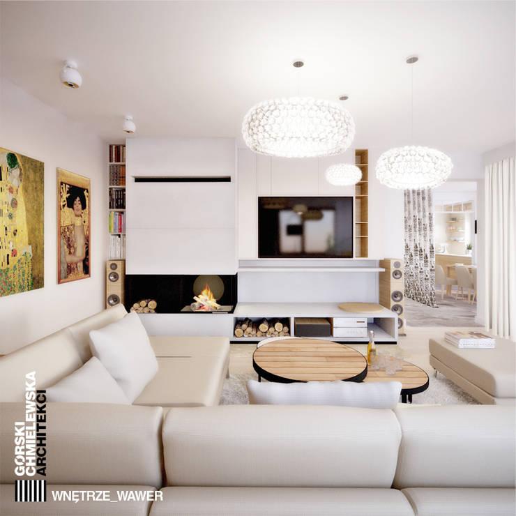 WNĘTRZE WAWER: styl , w kategorii Salon zaprojektowany przez GÓRSKI CHMIELEWSKA ARCHITEKCI,Nowoczesny