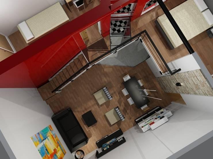 Renders de proyecto: Livings de estilo  por Area61 Arquitectura